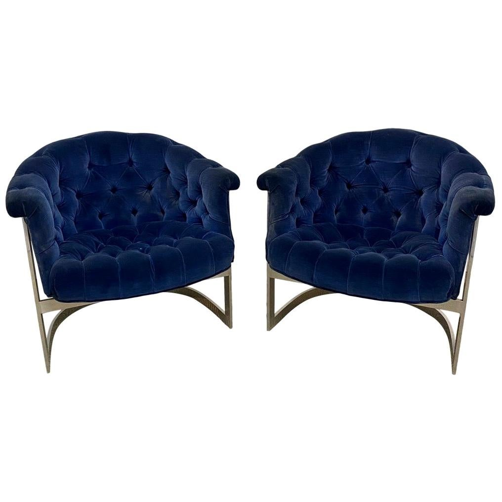 Pair of Thayer Coggin Tufted Cantilever Club Chairs