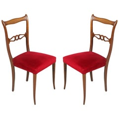 Pair of the 1950s Lacquered Walnut Side Chairs Melchiorre Bega Attributed