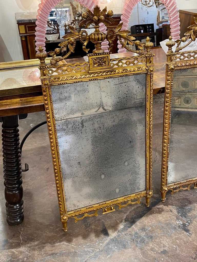 Italian Pair of the 19th Century Giltwood Mirrors For Sale
