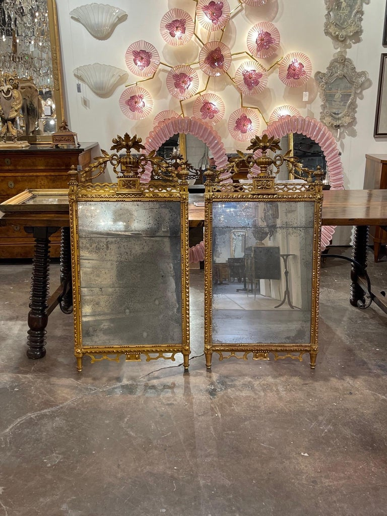 Pair of the 19th Century Giltwood Mirrors For Sale 4