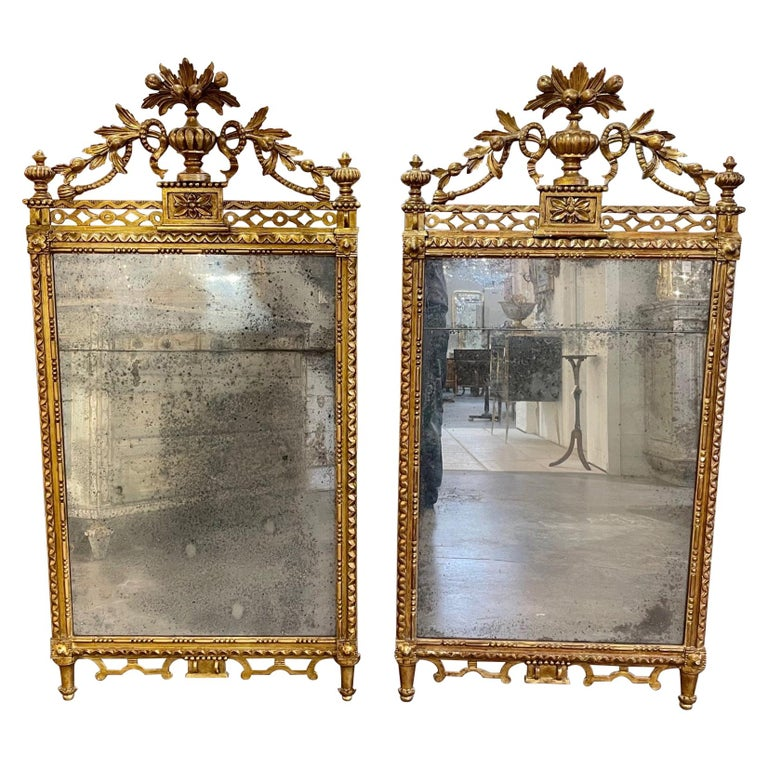 Pair of the 19th Century Giltwood Mirrors For Sale