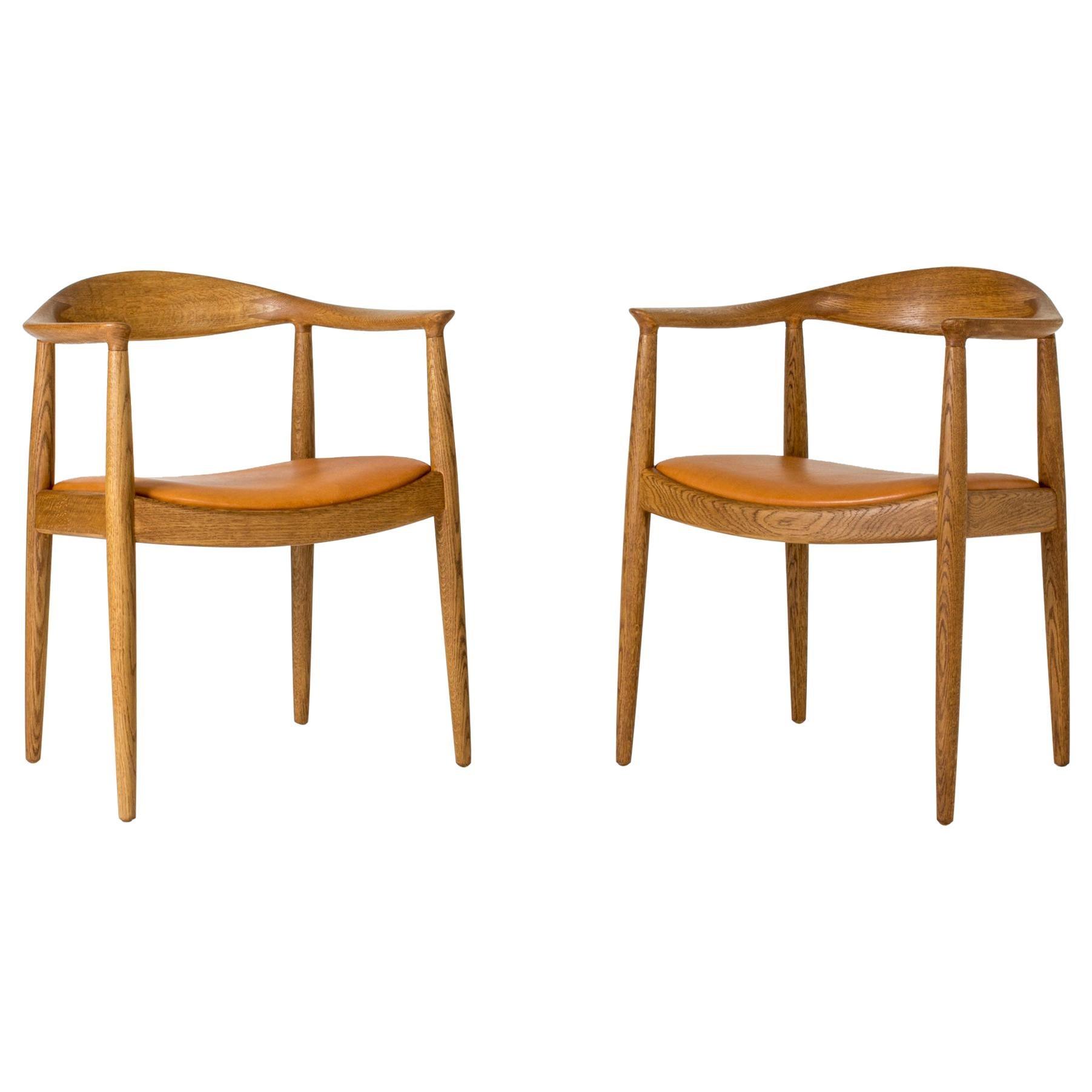 """Pair of """"The Chair"""" Armchairs by Hans J. Wegner for Johannes Hansen, Denmark"""