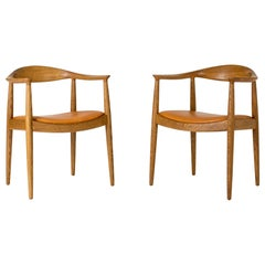 "Pair of ""The Chair"" Armchairs by Hans J. Wegner for Johannes Hansen, Denmark"
