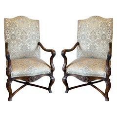 Pair of the Finest Antique French Louis XV Carved Walnut Fauteuils