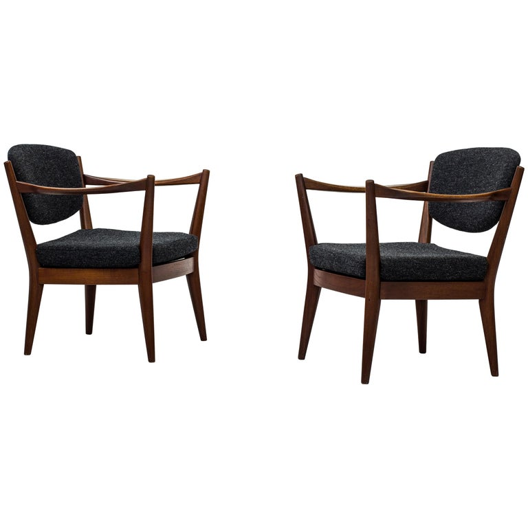 """Pair of """"The Fireplace Chair"""" by Fredrik Kayser & Adolf Relling, Norway, 1950s For Sale"""