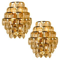 Pair of the Modern Crystal Glass Wall Sconces by Bakalowits, 1960s