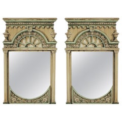 Pair of Theatrical Hand Painted Prop Mirrors Fornasetti Style