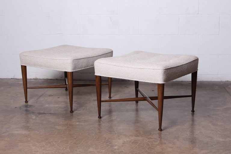 Pair of Thebes Stools by Edward Wormley for Dunbar For Sale 8