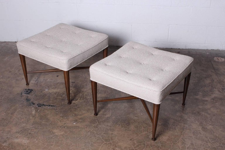 Pair of Thebes Stools by Edward Wormley for Dunbar For Sale 9