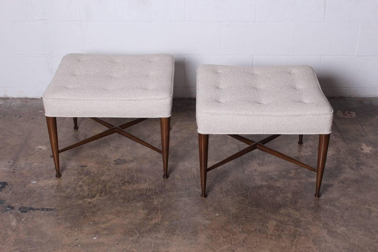 Pair of Thebes Stools by Edward Wormley for Dunbar In Excellent Condition For Sale In Dallas, TX