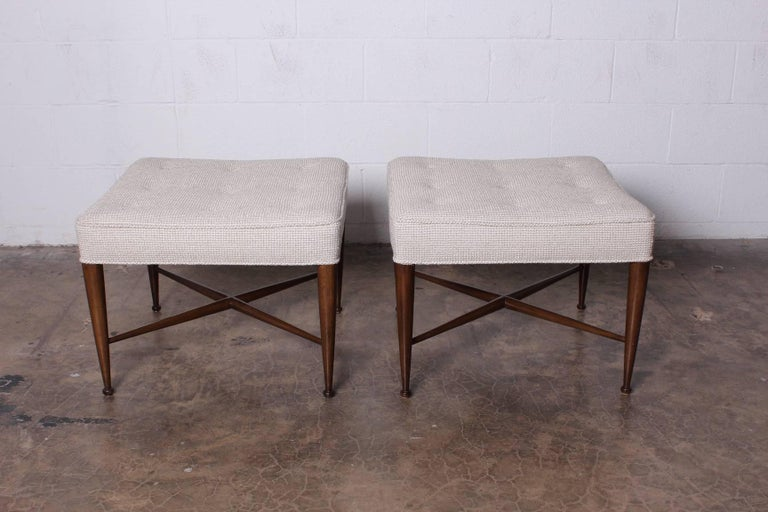 Mid-20th Century Pair of Thebes Stools by Edward Wormley for Dunbar For Sale