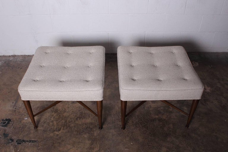Pair of Thebes Stools by Edward Wormley for Dunbar For Sale 1