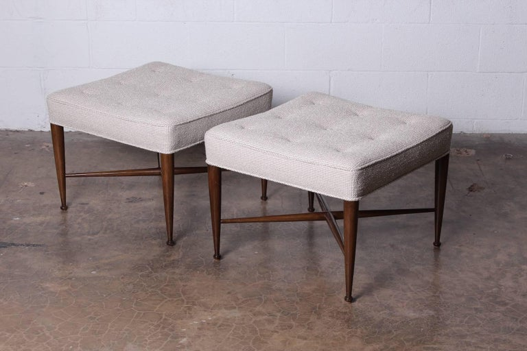 Pair of Thebes Stools by Edward Wormley for Dunbar For Sale 2