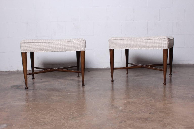 Pair of Thebes Stools by Edward Wormley for Dunbar For Sale 3