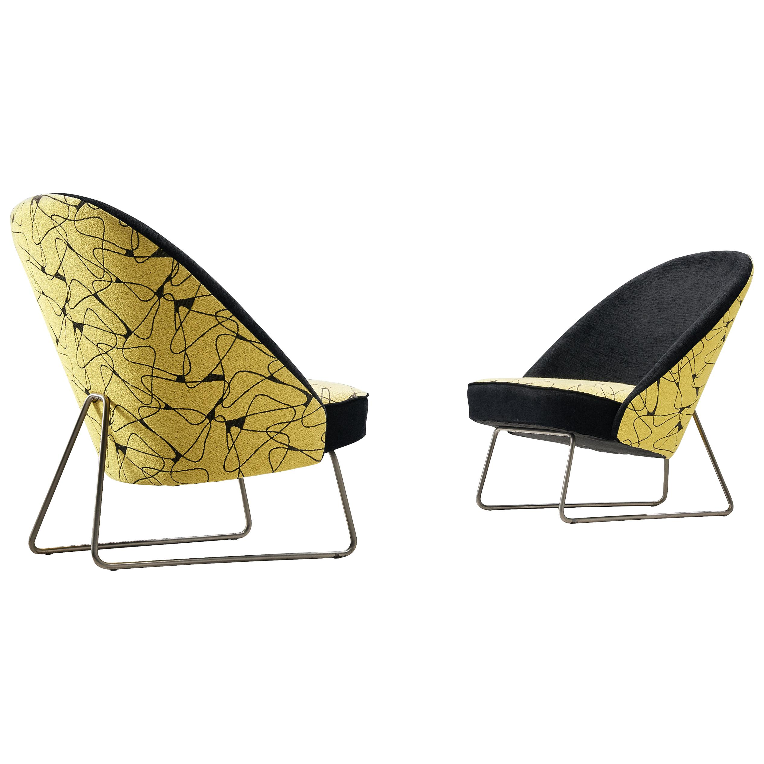 Pair of Theo Ruth Lounge Chair Model 115 in Patterned Fabric