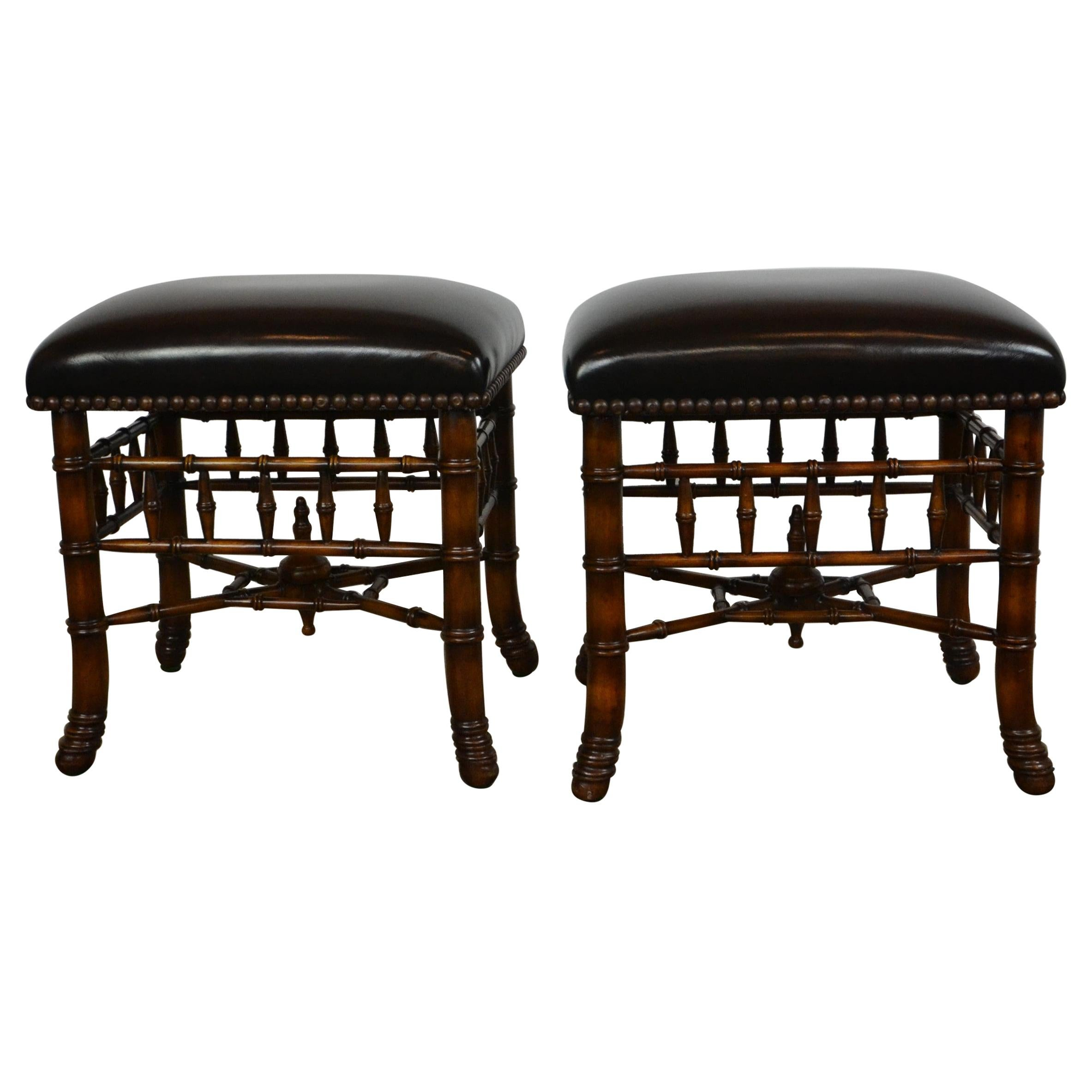 Pair of Theodore Alexander Faux Bamboo Benches / Stools of Top Quality