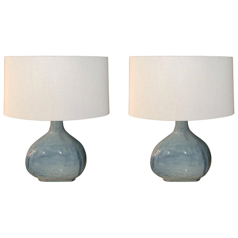 Blue Glass Pair Oval Shaped Table Lamps, China, Contemporary For Sale