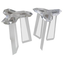 Pair Of Thick Lucite End Tables or Lucite Dining Table Base, By Loznikov