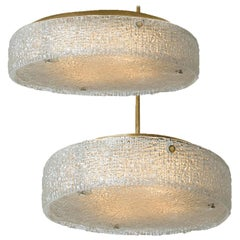 Pair of Thick Textured Glass Flush Mount Ceiling Lights and by Kaiser, 1960s