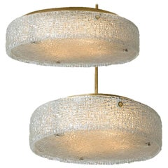 Pair of Thick Textured Glass Flushmount Ceiling Lights and by Kaiser, 1960s