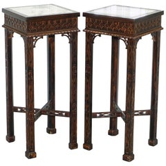 Pair of Thomas Chippendale Chinese Style Marble & Carved Wood Jardinière Stands
