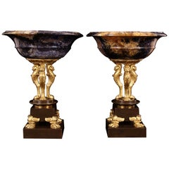 Pair of Thomas Hope George III Blue John Patinated and Gilt Bronze Atheniennes