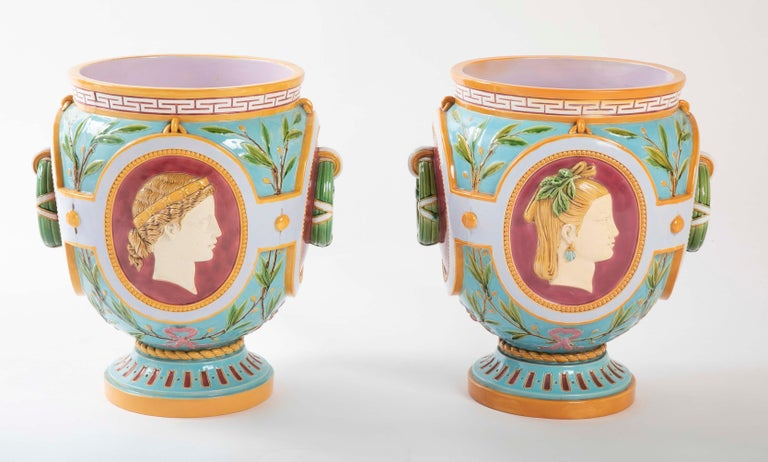 A beautiful pair of English Majolica jardinières by Thomas Minton. Shape numbers 1388 and 1389.