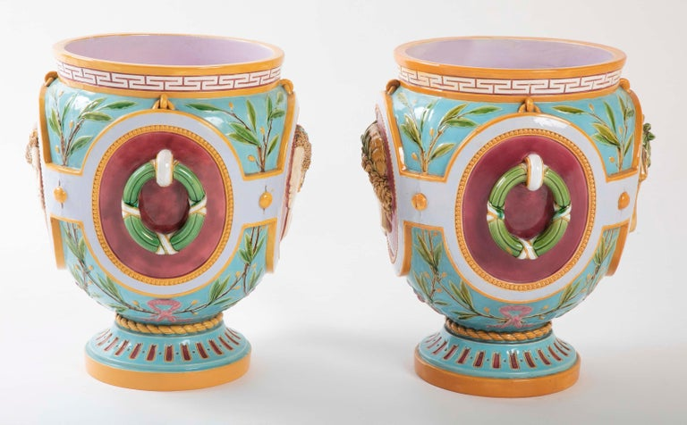 18th Century and Earlier Pair of Thomas Minton Majolica Jardinières For Sale