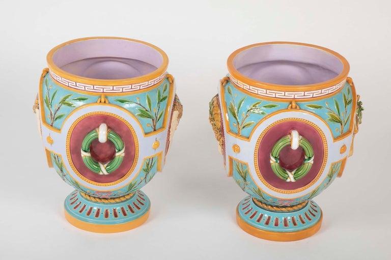 Pair of Thomas Minton Majolica Jardinières For Sale 1