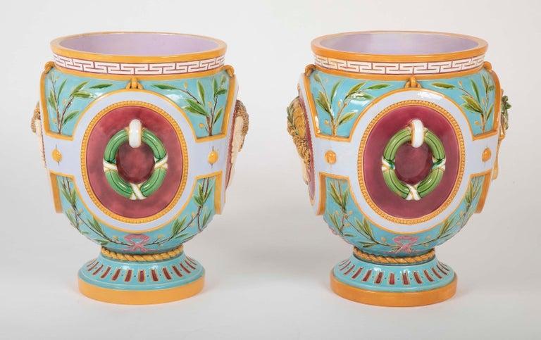 Pair of Thomas Minton Majolica Jardinières For Sale 2