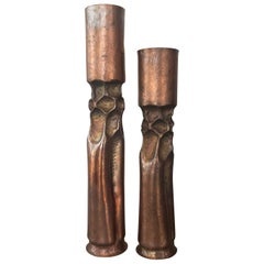 Pair of Thomas Roy Markusen Brutalist Copper Candleholders