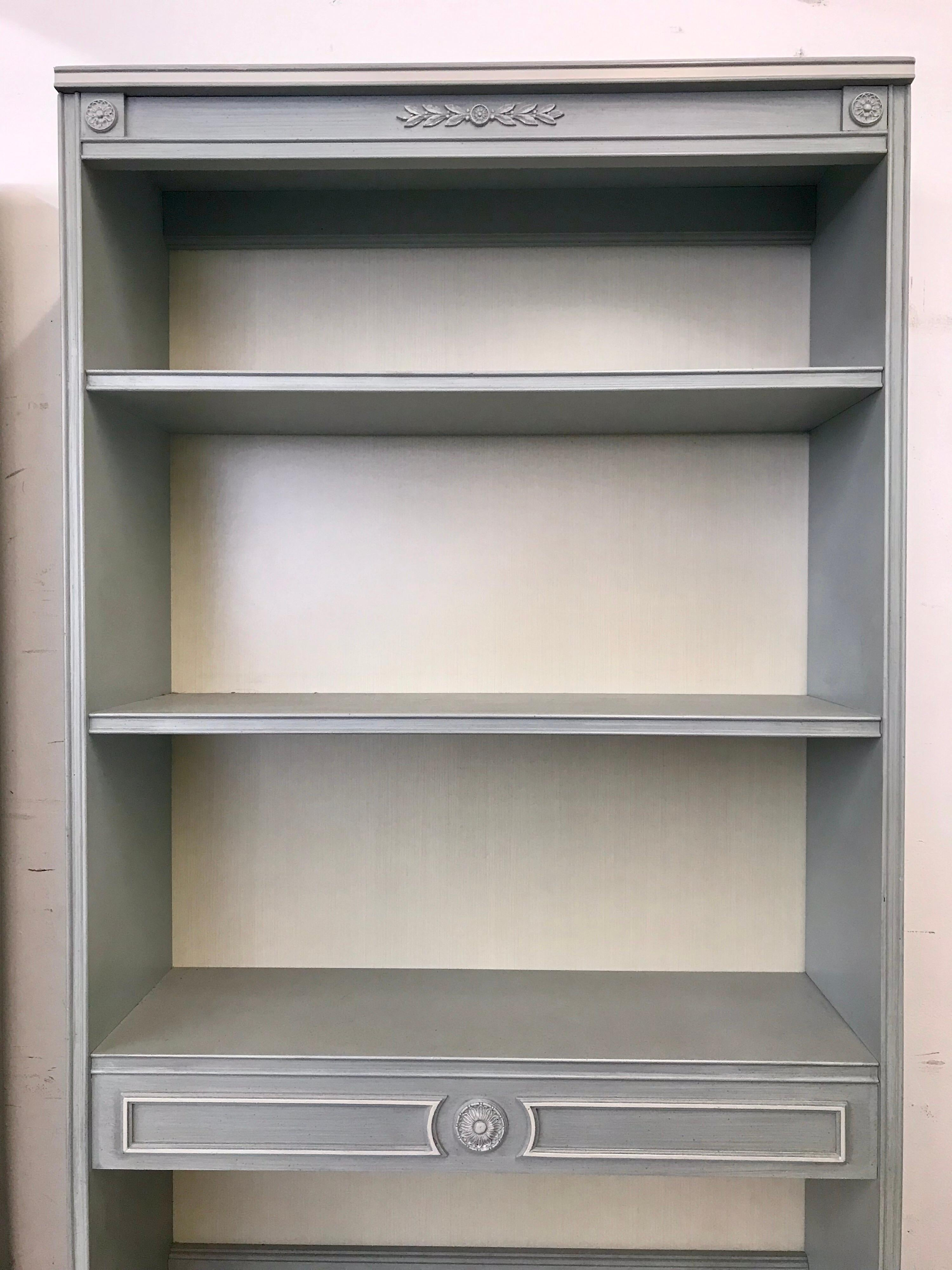 Thomasville 2 Piece Powder Blue Tall Bookcases Shelves
