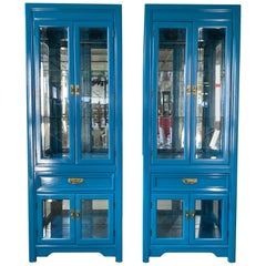 Pair of Thomasville Display Cabinets in Blue Lacquer