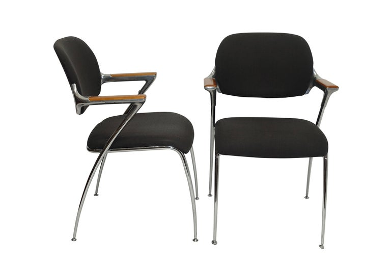 Mid-Century Modern Pair of Thonet Aluminum and Chrome Armchairs, circa 1970s For Sale