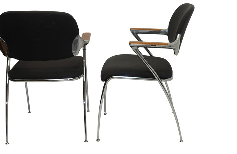 American Pair of Thonet Aluminum and Chrome Armchairs, circa 1970s For Sale