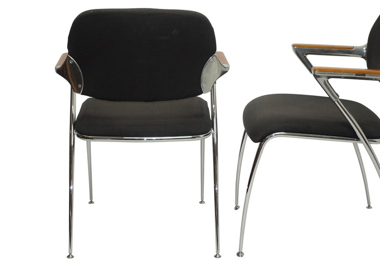 20th Century Pair of Thonet Aluminum and Chrome Armchairs, circa 1970s For Sale