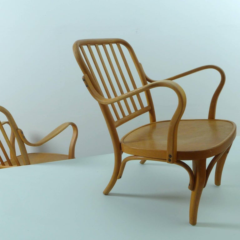 Austrian Pair of Thonet Armchairs by Josef Frank For Sale
