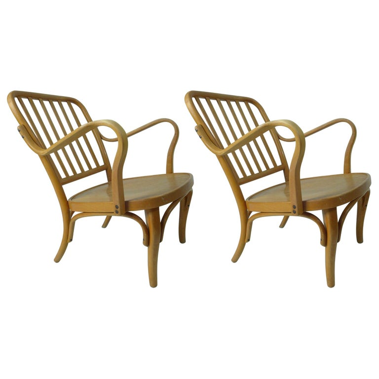 Pair of Thonet Armchairs by Josef Frank For Sale