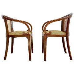 Pair of Thonet Armchairs in Style of Otto Prutscher, with Backhausen Upholstery