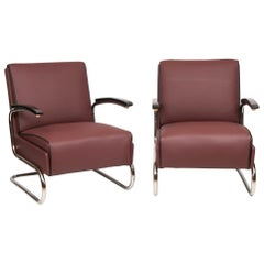 Pair of Thonet Art Deco Armchairs Bauhaus Design with Polished Cantilever Frames