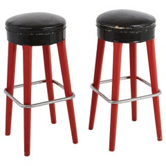 Pair of Thonet Bar Stools with Red Wooden Base and Black Seats, circa 1930s