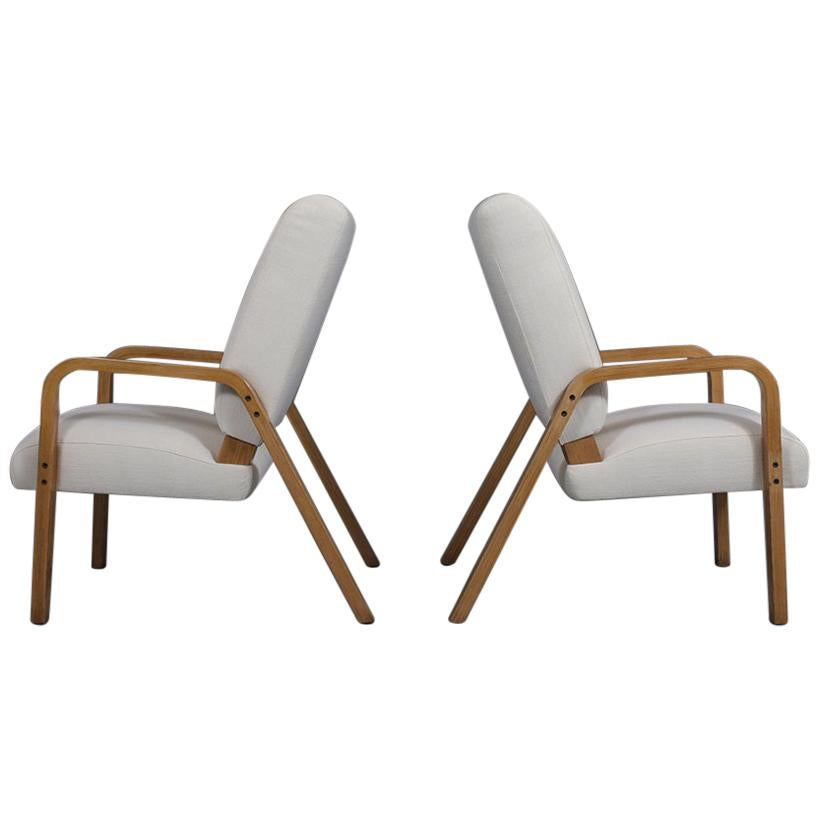 Pair of Thonet Bentwood Reupholstered Lounge Chairs