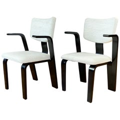 Pair of Thonet Black Lacquered Bentwood Armchairs with Upholstered Seats, 1940s