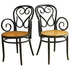 Pair of Thonet Cafe Daum Style Bentwood Armchairs