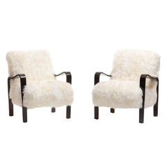 Pair of Thonet Sculptural Bentwood and Ivory Sheepskin Armchairs, circa 1950
