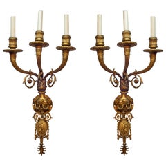 Pair of Three-Arm Gilt Bronze Wall Sconces Attributed to Caldwell