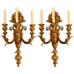 Pair of Three-Arm Bronze Wall Sconces French Louis XVI Style Bronze Dore