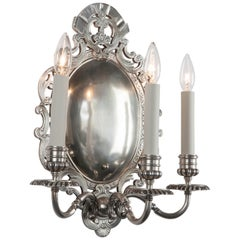 Pair of Three-Arm Oval Silver Plate Sconces by Edward F. Caldwell, circa 1920s