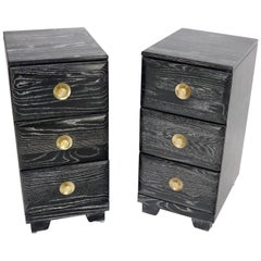 Pair of Three-Drawer Ceruised Oak Nightstands End Tables
