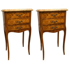 Pair of Three-Drawer Marble-Top Bedside or End Tables